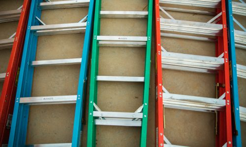 MEMPHIS, TENNESSEE, USA (8/23/16)-Ladders line the build site, on the second day of Habitat's 33rd Jimmy & Rosalynn Carter Work Project.    The Carters spent a week working alongside Habitat for Humanity homeowners and hundreds of volunteers in Memphis, Tennessee, to build and repair homes.    Hosted by Habitat for Humanity of Greater Memphis, volunteers spent the week helping families build or improve places they can call home through new home construction, neighborhood beautification and home modifications for seniors. This included 19 new homes in the Bearwater Park area just north of Uptown Memphis; 10 neighborhood beautification projects, including painting and landscaping; and 6 aging in place projects to enhance accessibility and mobility for seniors.    © Habitat for Humanity International/Ezra Millstein