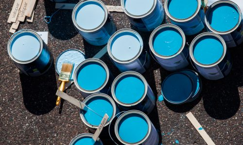 SAINT PAUL, MINNESOTA, USA (9/19/15)-Habitat for Humanity partnered with Valspar, Habitat's national paint partner, and Wells Fargo to launch the project between September 19-26.  A Brush with Kindness Week is a nationwide effort to transform neighborhoods by painting, landscaping and providing minor exterior home repairs in partnership with low-income homeowners, many of whom are elderly or have a disability.  The event brought together more than 2,000 volunteers to help more than 150 families in 24 states.  In Saint Paul, Minnesota, volunteers painted a US map with all of the participating locations.   © Habitat for Humanity International/Ezra Millstein